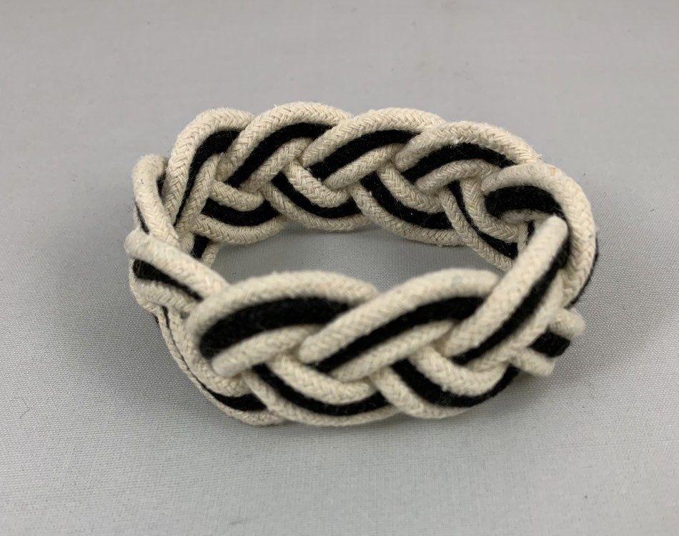 Black And White Turks Head Sailors Cotton Bracelet Handmade
