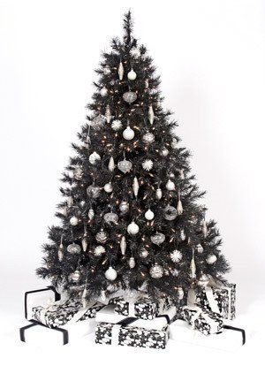 Black Christmas Tree Pre Lit 6 5 With 400 Clear Lights 600 Tips