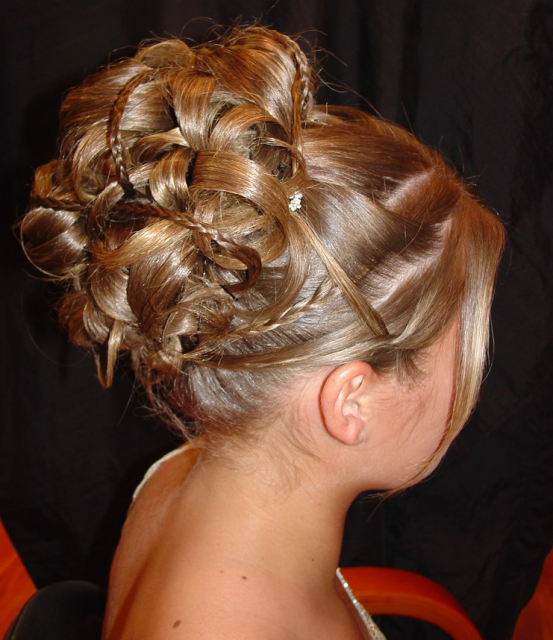 White Wedding Hairstyles: Wedding Braid Updo With Long