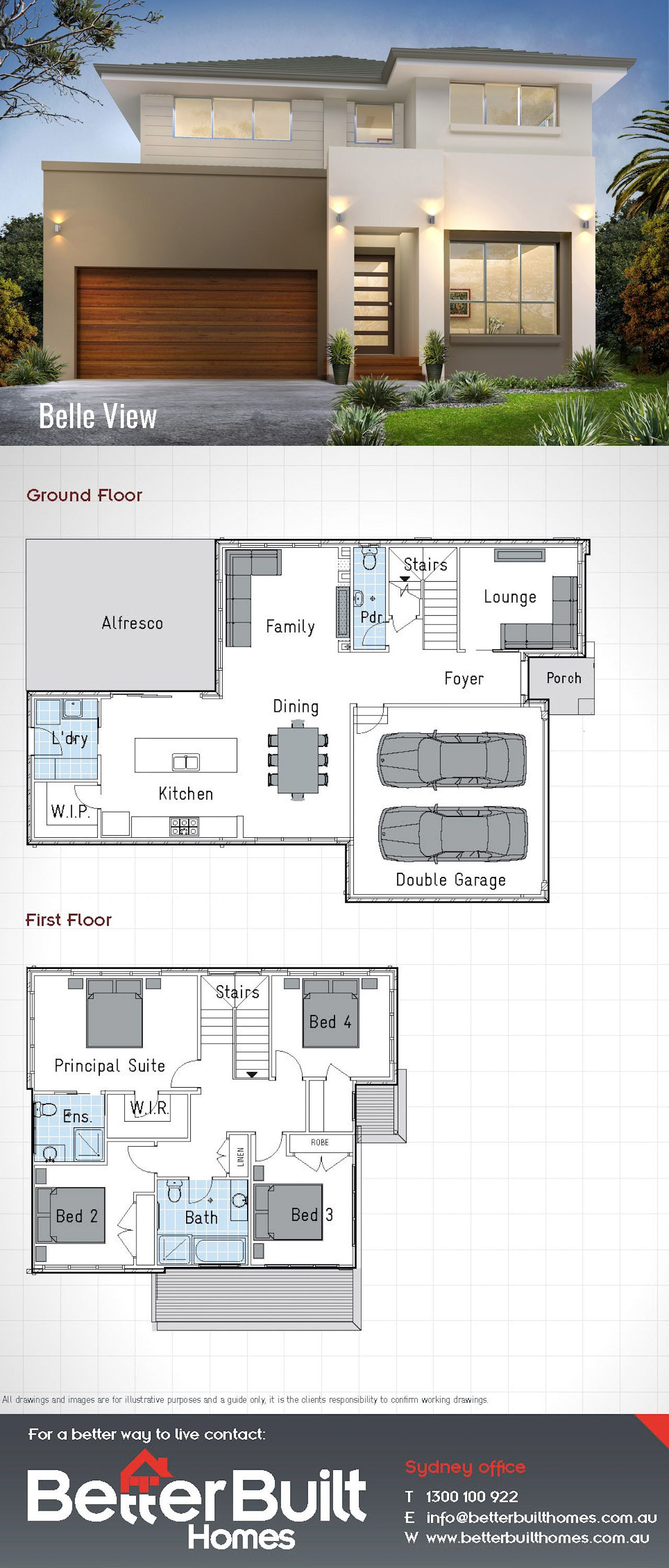 The Belle View 26 Double Storey House Design 232 Sq M 10 7m X 16 7m With 4 Large Bedrooms 2 Walk In Robes Double Storey House House Plans House Layouts