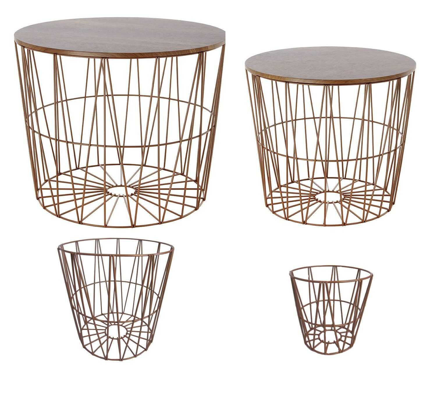4 design-drahtkörbe of which 2 with Lid Side Table walnussdekor Wire ...