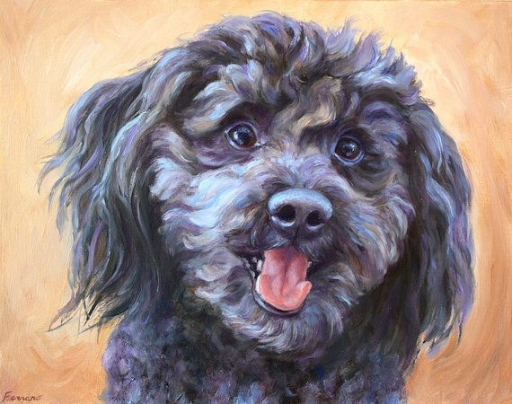 Dog Portrait and Custom Poodle painting of all by FerraroFineArt     #dogportrait #doglovers #painting