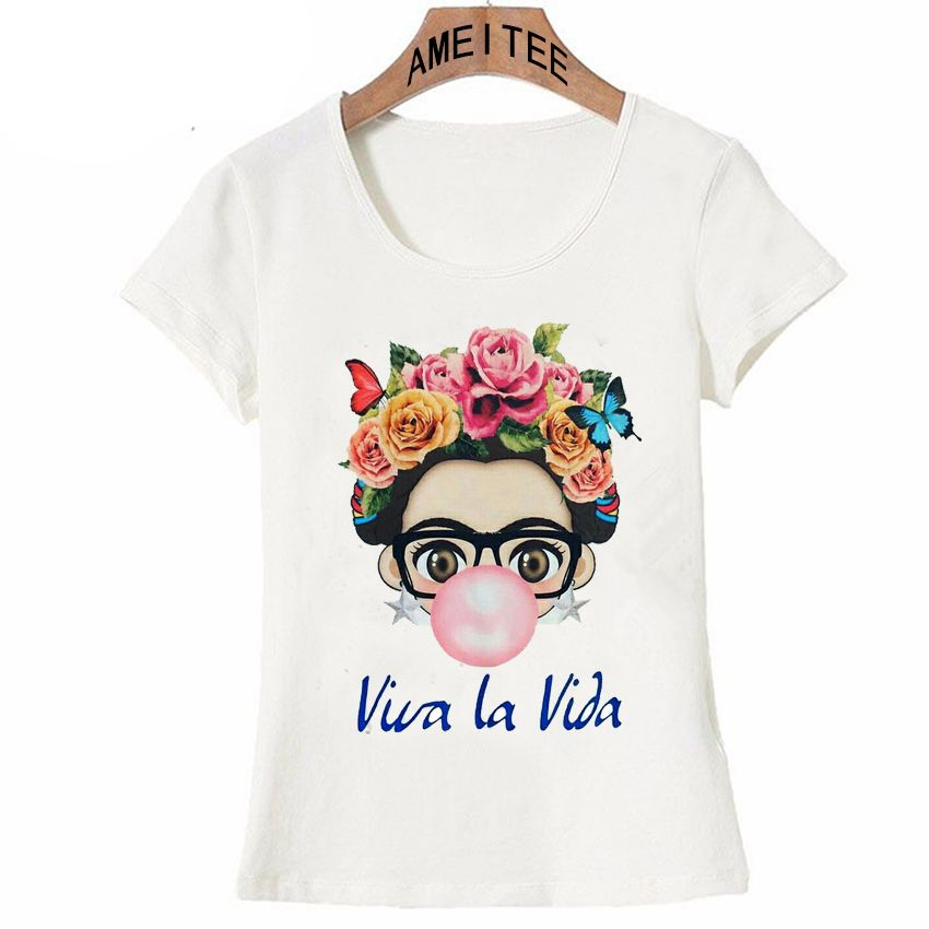 b804f49878 comprar Carismática Frida Kahlo Linda arte de dibujos animados camiseta  verano lindo mujeres camiseta 2018 nuevo