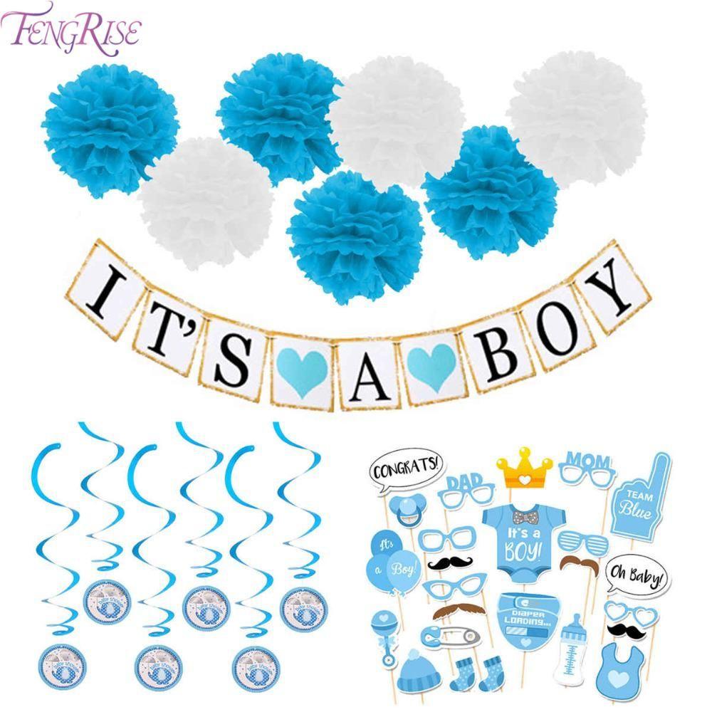 Bunting Swirls Cake Picks Baby Shower Decorations for Baby Girls Balloons