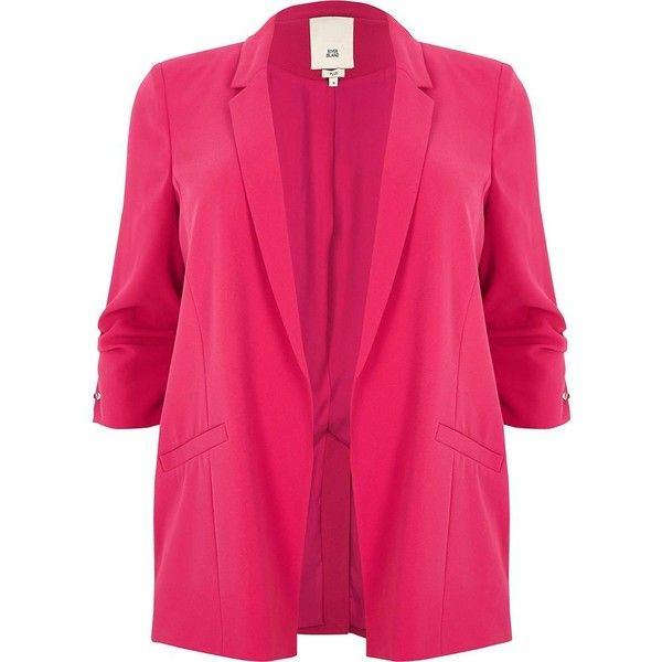 0275247f92f40 River Island Plus bright pink bar cuff longline blazer (155 CAD) ❤ liked on