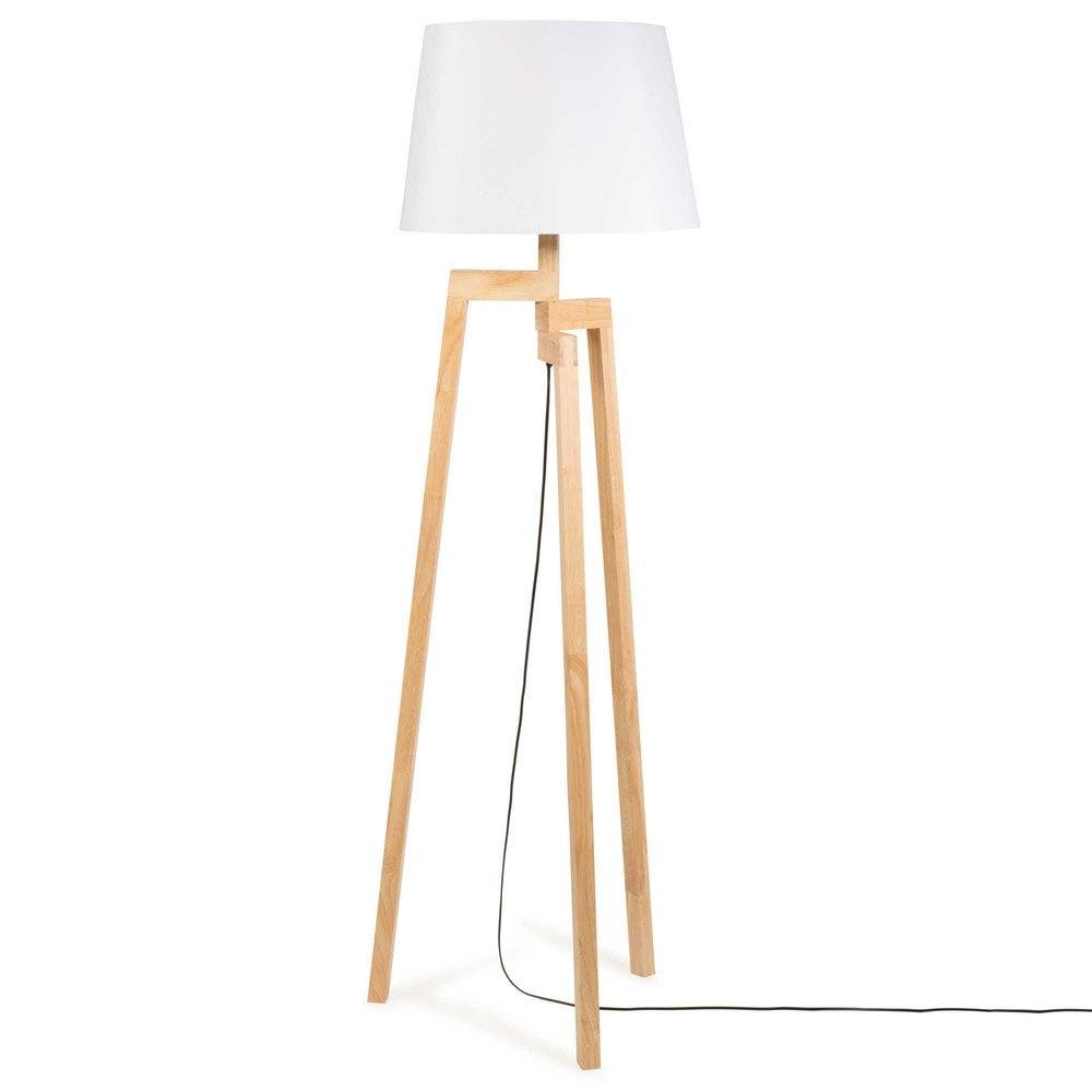 Stehleuchte Dreibeinig Aus Holz H 150 Cm Maisons Du Monde