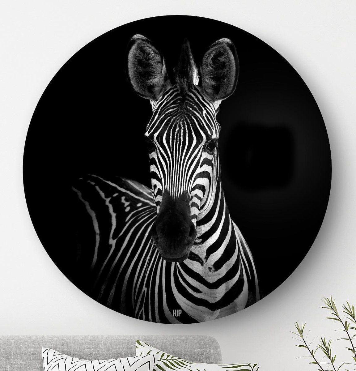 Hip Orgnl Schilderij Zebra 100cm Wandcirkel Dieren Zwart Wit Schilderij Zebra S Kunstwerk