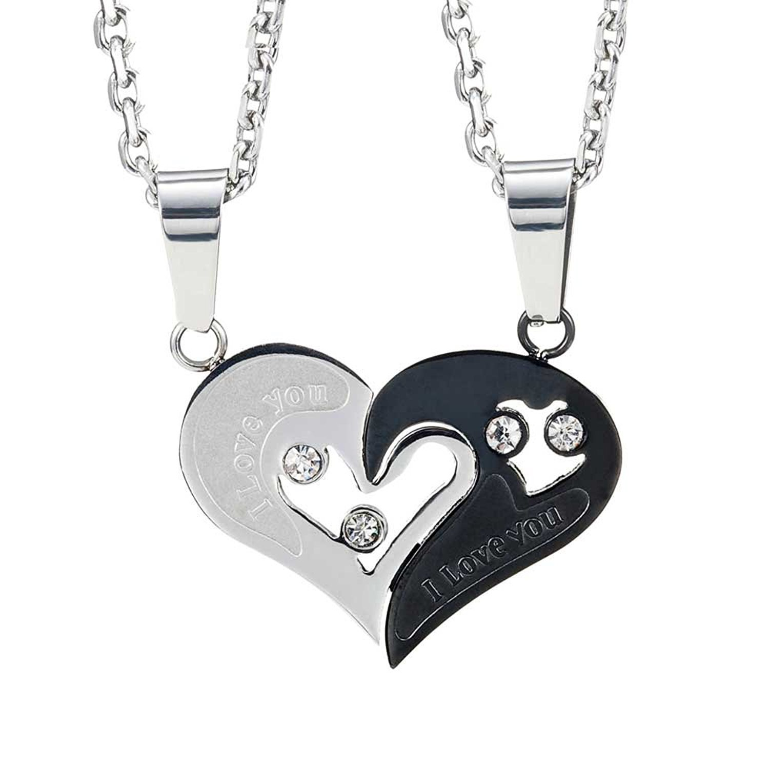 Pcs his u hers couples gift heart pendant love necklace set for