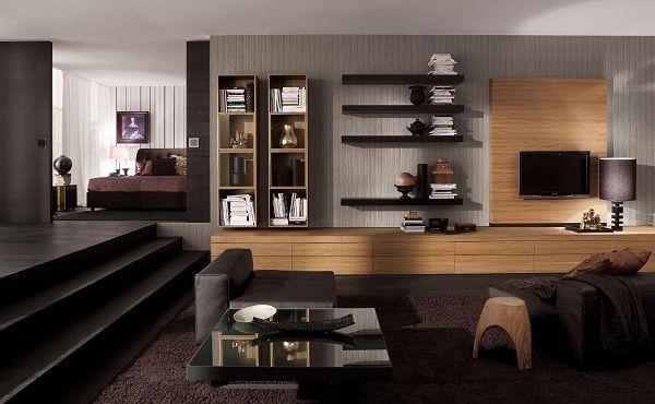 Atemberaubende Minimalistische Wohnzimmerdesigns Braun Glastisch Schrank