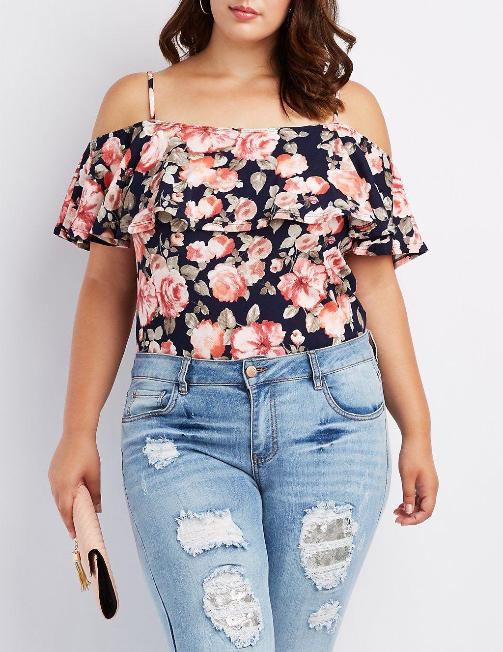 b10ff5ac2d2 Plus Size Floral Ruffle Cold Shoulder Bodysuit | Charlotte Russe