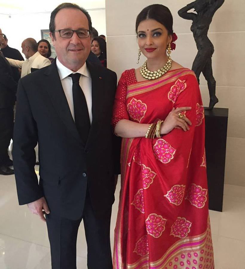 Aishwarya Rai Bachchan In Red Banarasi Sari For Meeting With Hollande Indian Designer Outfits Bollywood Celebrities Fashion