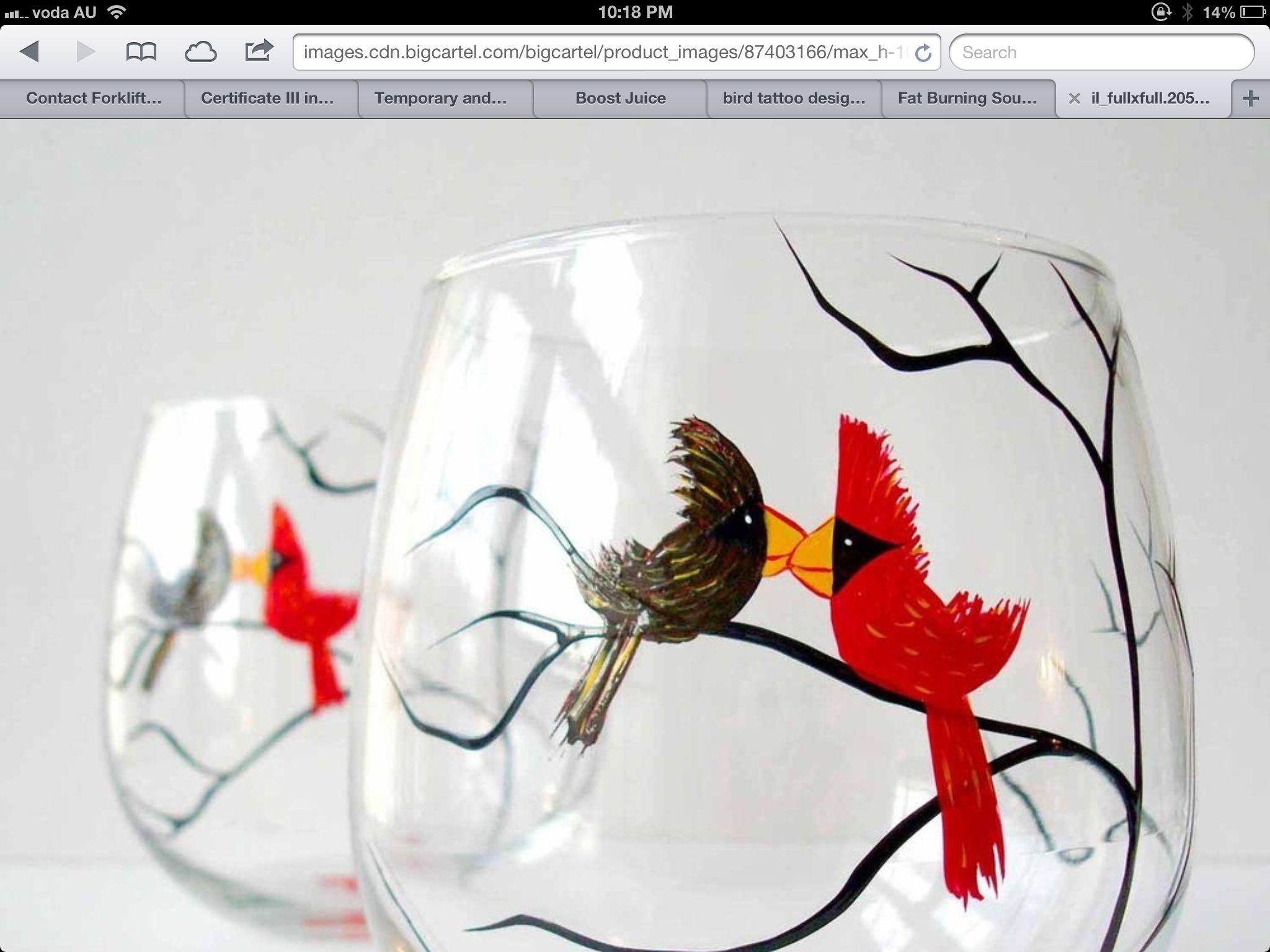 Love birds on glass