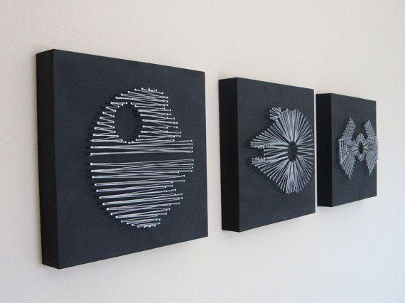 set of star wars death star millennium falcon tie fighter nail and string wall art shelf art. Black Bedroom Furniture Sets. Home Design Ideas