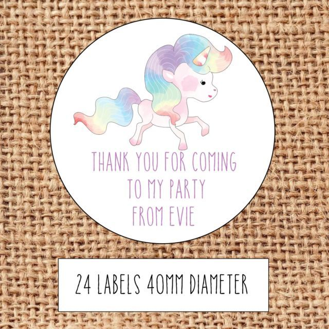 Unicorn Happy Birthday Personalised Thank You Stickers Party Bag Sweet Cone