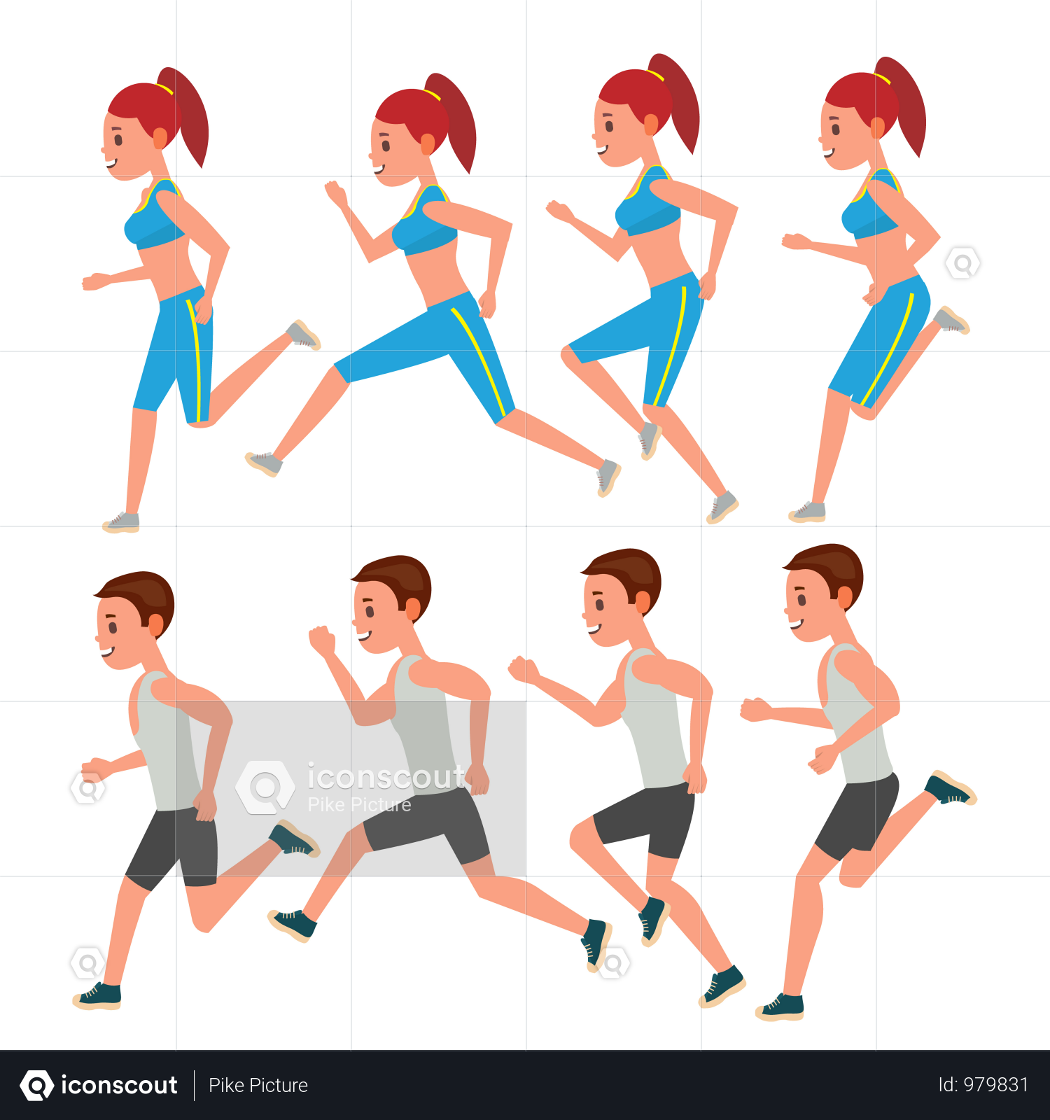 Premium Male And Female Running Vector Animation Frames Set Sport Athlete Fitness Character Marathon Road Race Runner Woman Side View Sportswear Jogging C Running Vector Vector Illustration People Vector Animation