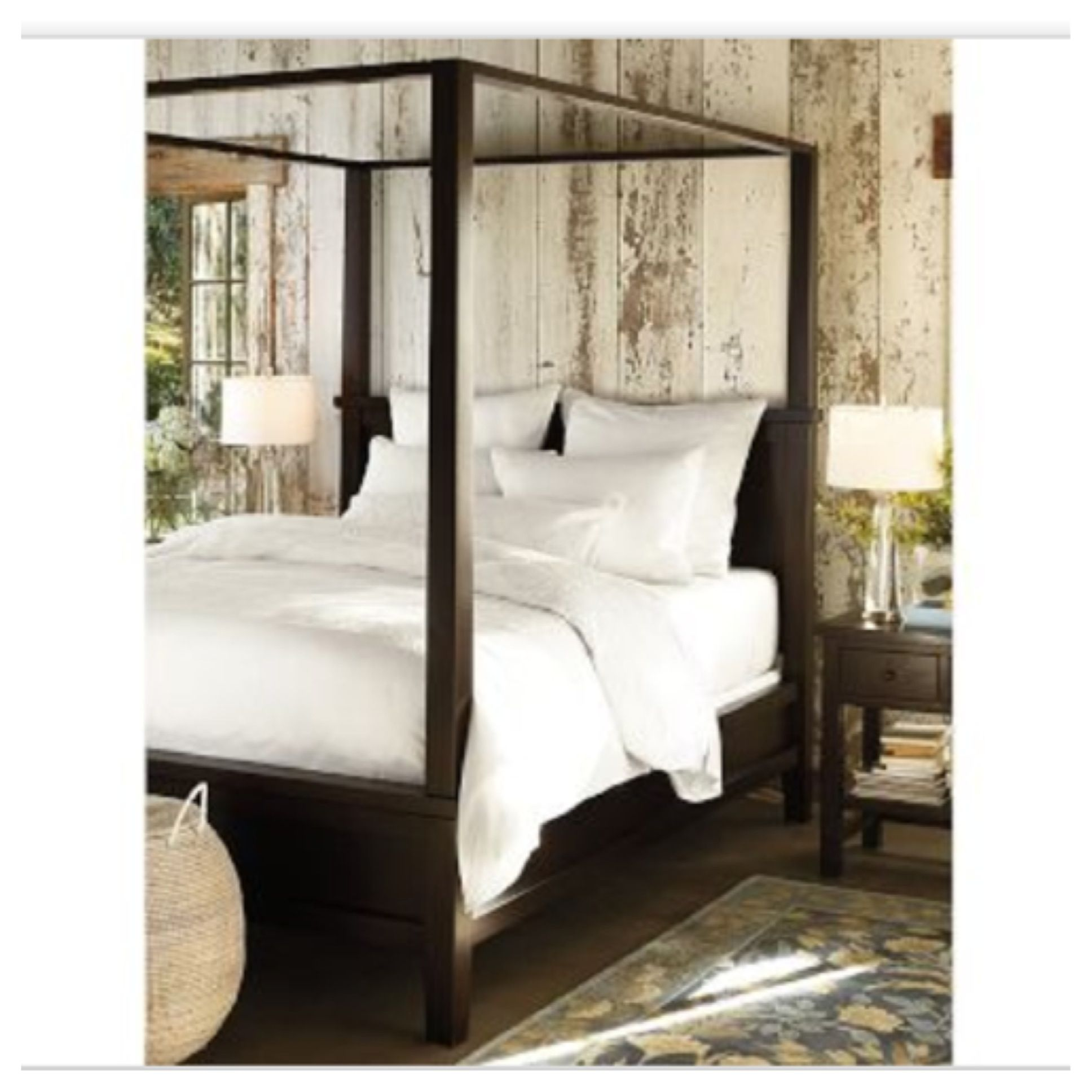 Pottery Barn Farmhouse Canopy Bed and I LOVE the
