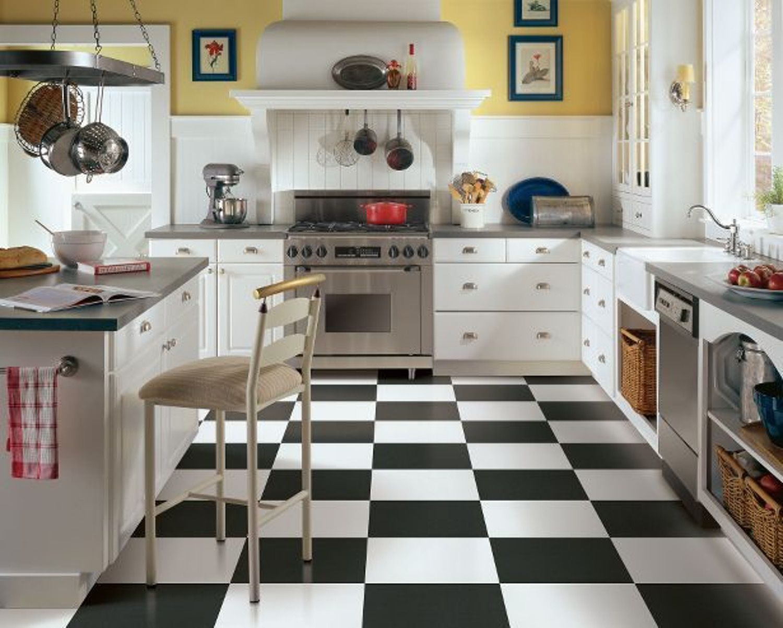Designing Around Black U0026 White Checkerboard Kitchen Floors Photo