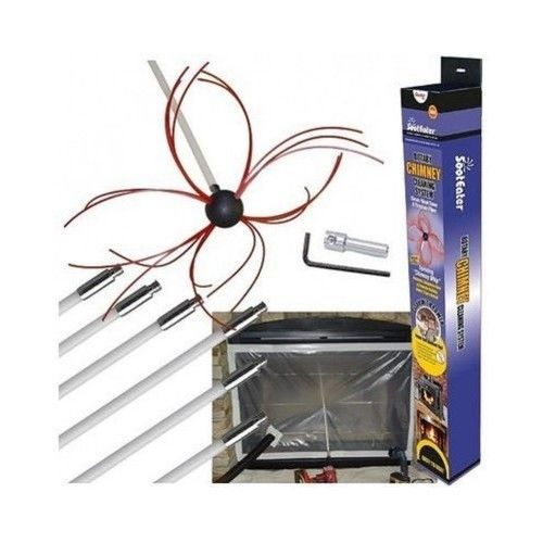Chimney Cleaning Kit Flue Soot Eater Wood Stove Fireplace Sweeper ...