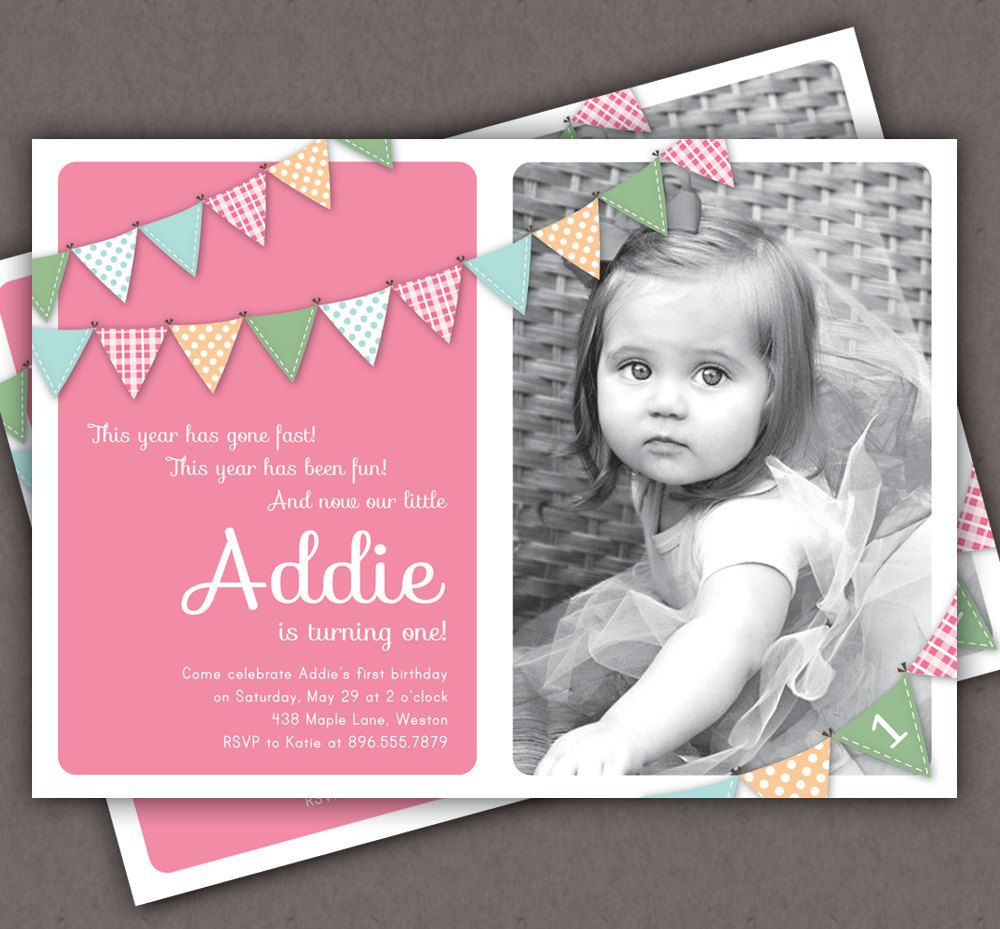First Birthday Invitation Bunting Flags Banner Photo Printable – 3 Year Old Birthday Invitation