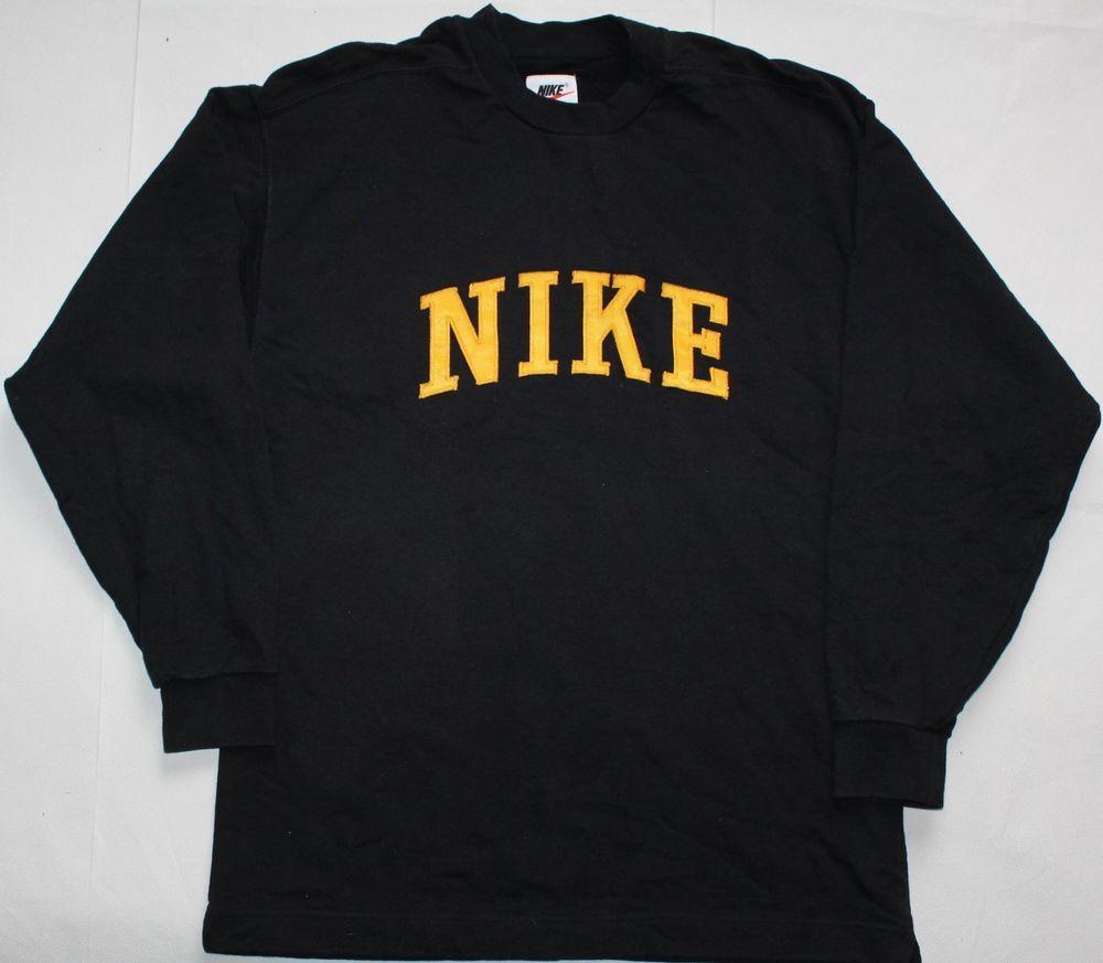 Nike Vintage 90s Batwing Crew Neck Jumper Large Size L Black Mens Sweater Fashion Clothing Shoes Accessor Fashion Long Sleeve Tshirt Men Vintage Nike