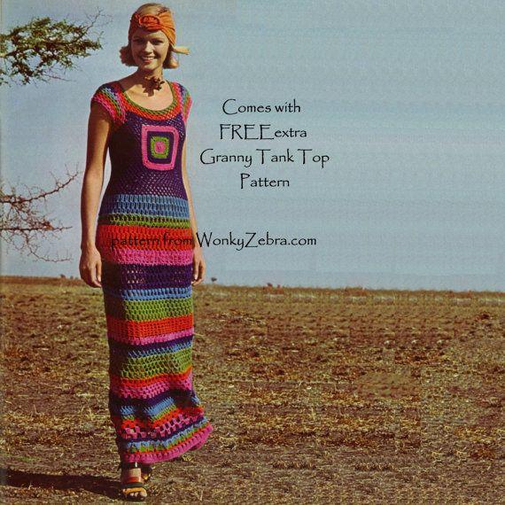 1970s Crochet RedwhiteBlue Granny Square Maxi Dress