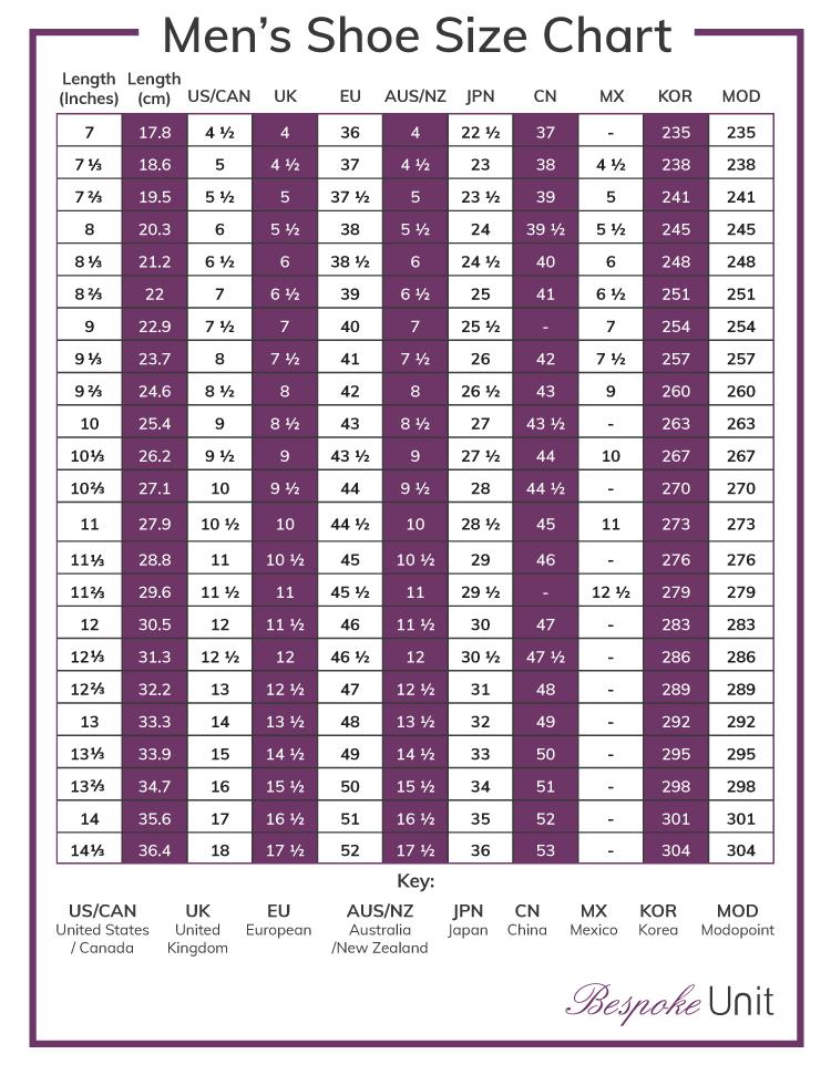 Shoe Size Conversion Chart Shoe Size Chart Mens Pants Size
