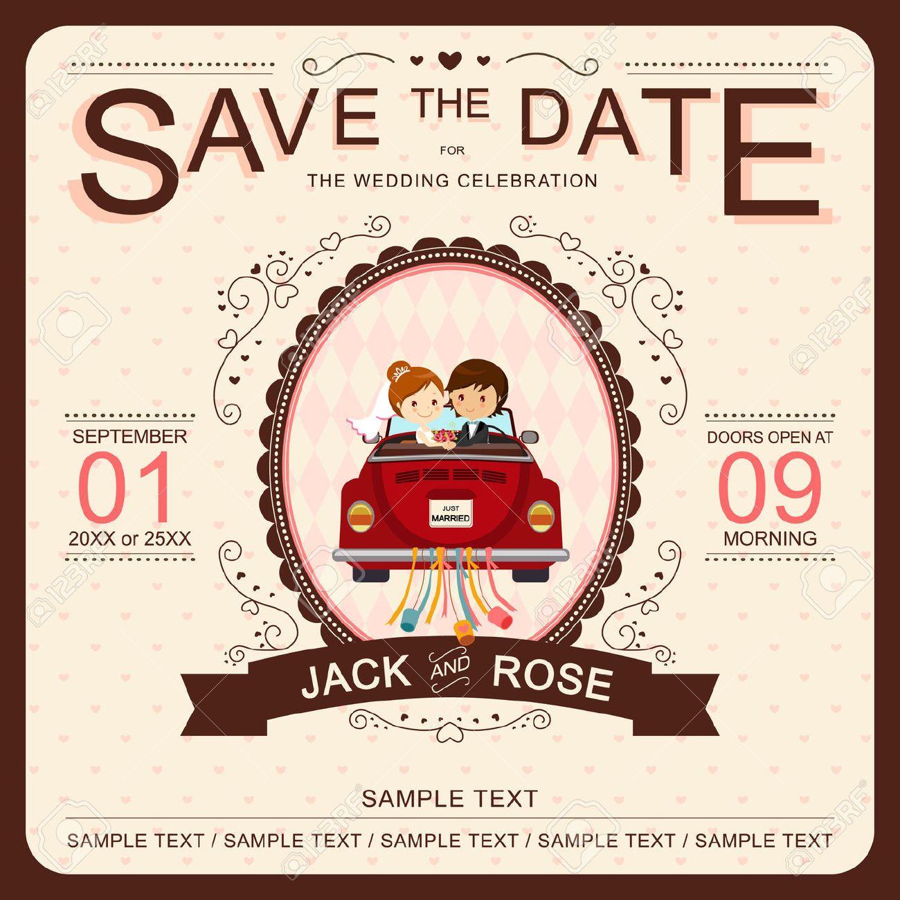 wedding invitation : Cute Bride and Groom in Red Car Wedding ...