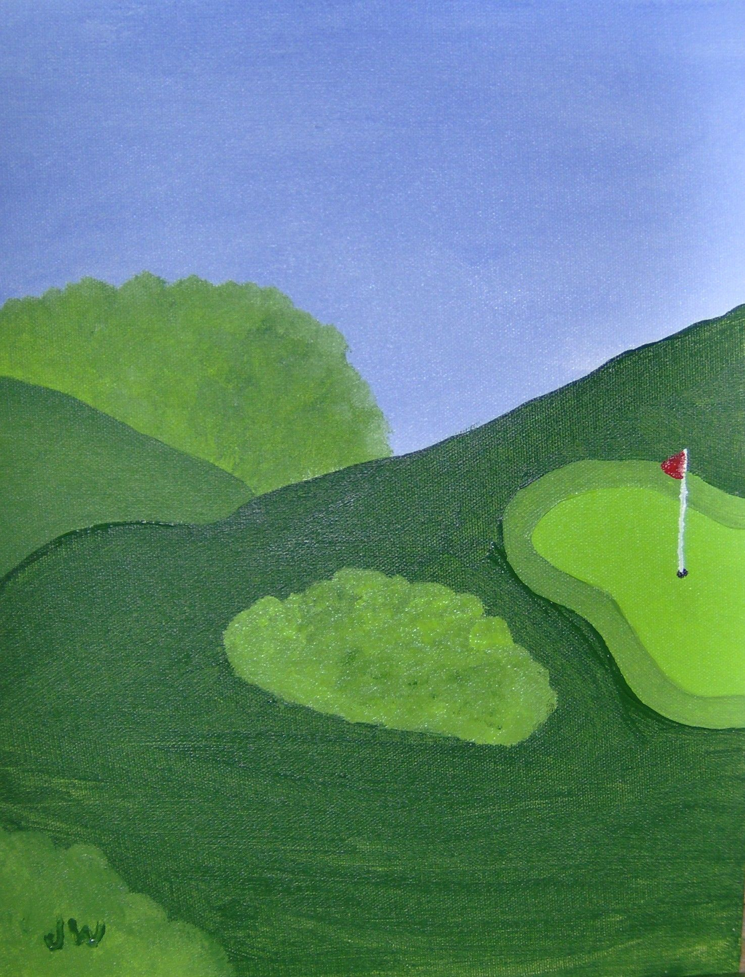 here is my first golf painting in acrylics just a simple golf