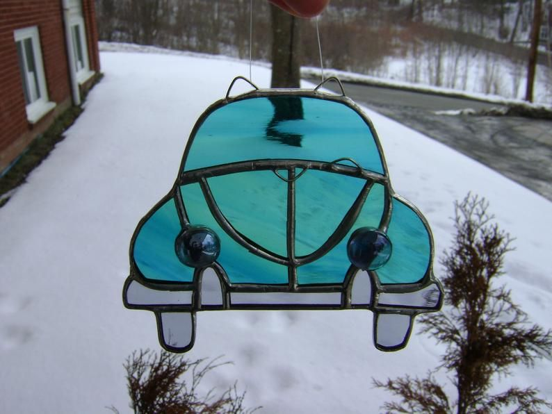 Stained Glass Volkswagen Classic Car VW Bug Stained Glass Cars White Cars Glass Sun Catcher Volkswagen Beetle Punch Buggy VW Beetle