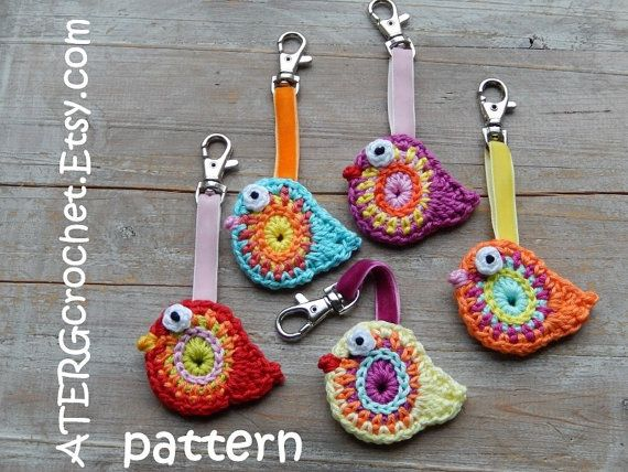 Crochet pattern BIRD key ring by ATERGcrochet | Vogel, Muster und Häkeln