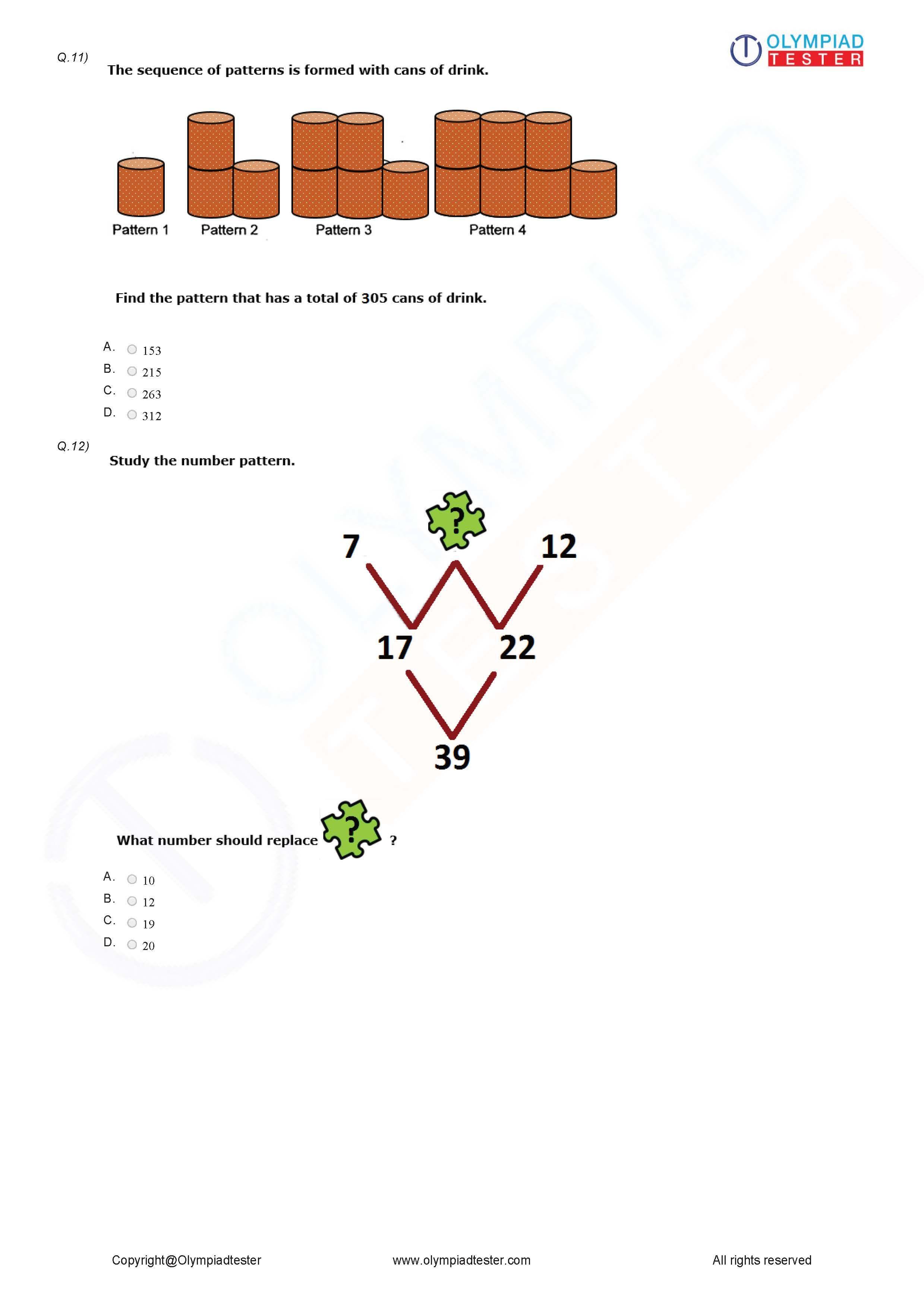 Class 5 Logical Reasoning Worksheet 04