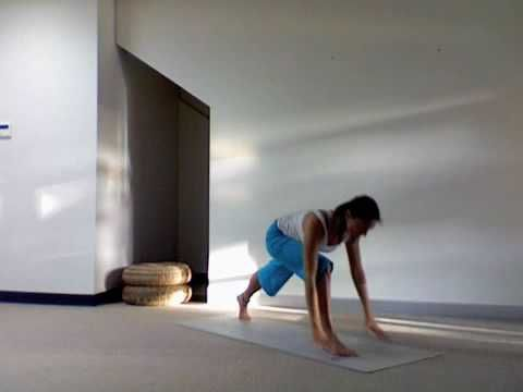 yoga routine easy sun salute with warrior one variation