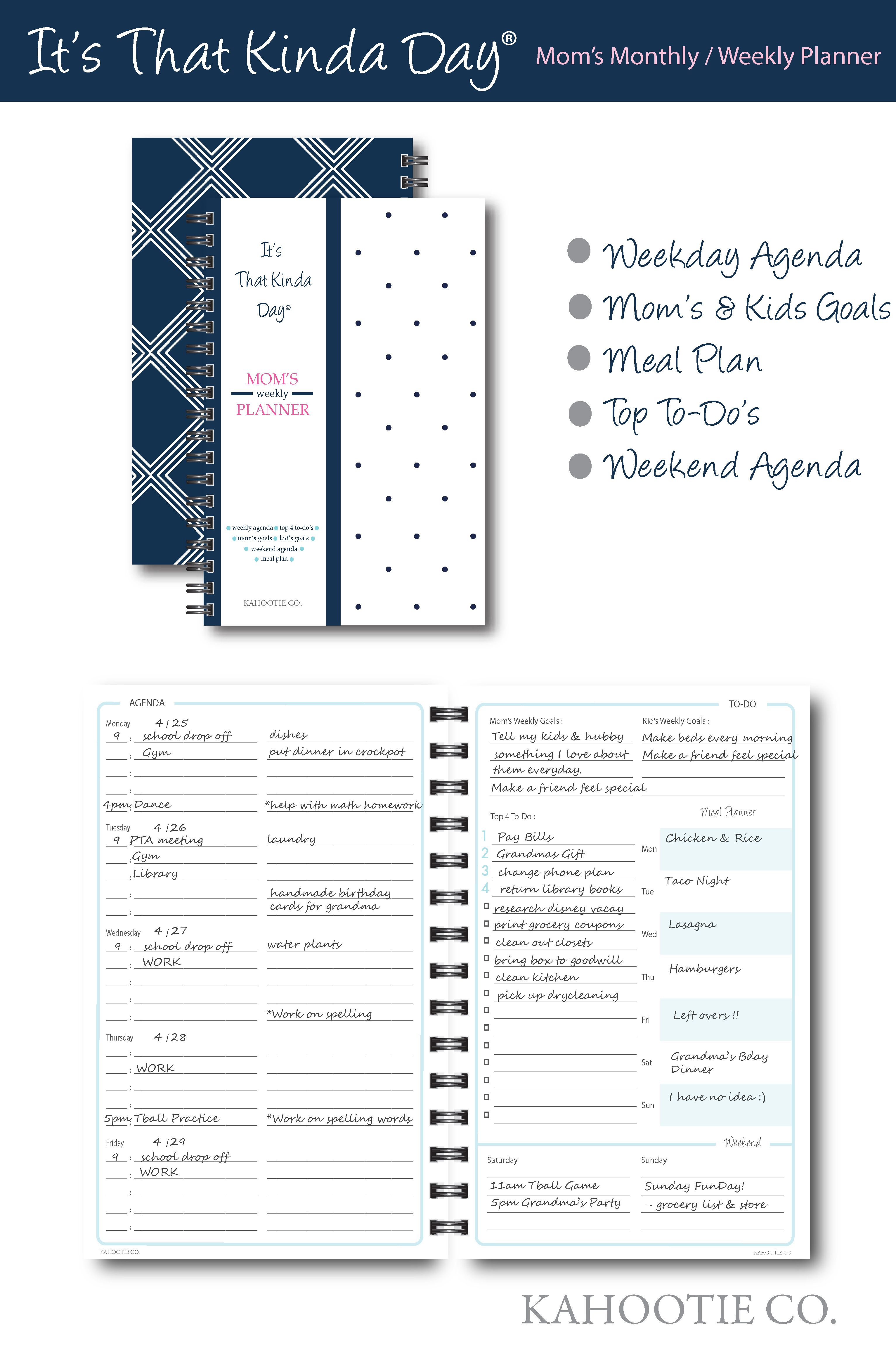 Kahootie Co It S That Kinda Day Mom S Weekly Planner 6 X 9 Navy And White Itkmnw At Staples Weekly Planner Mom Planner Planner