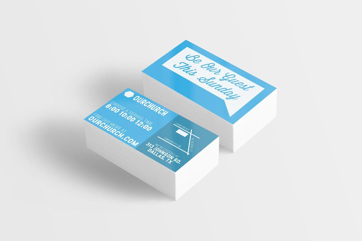 church invite cards in business card size 3×25 includes fully