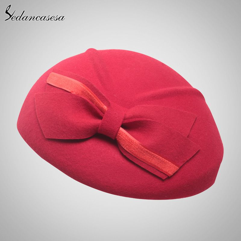 Sedancasase South Korea hat fashion women autumn winter British Berets Wool  blower hat Sweet bucket Hat wool beret Hat Love it  11a6d132a352