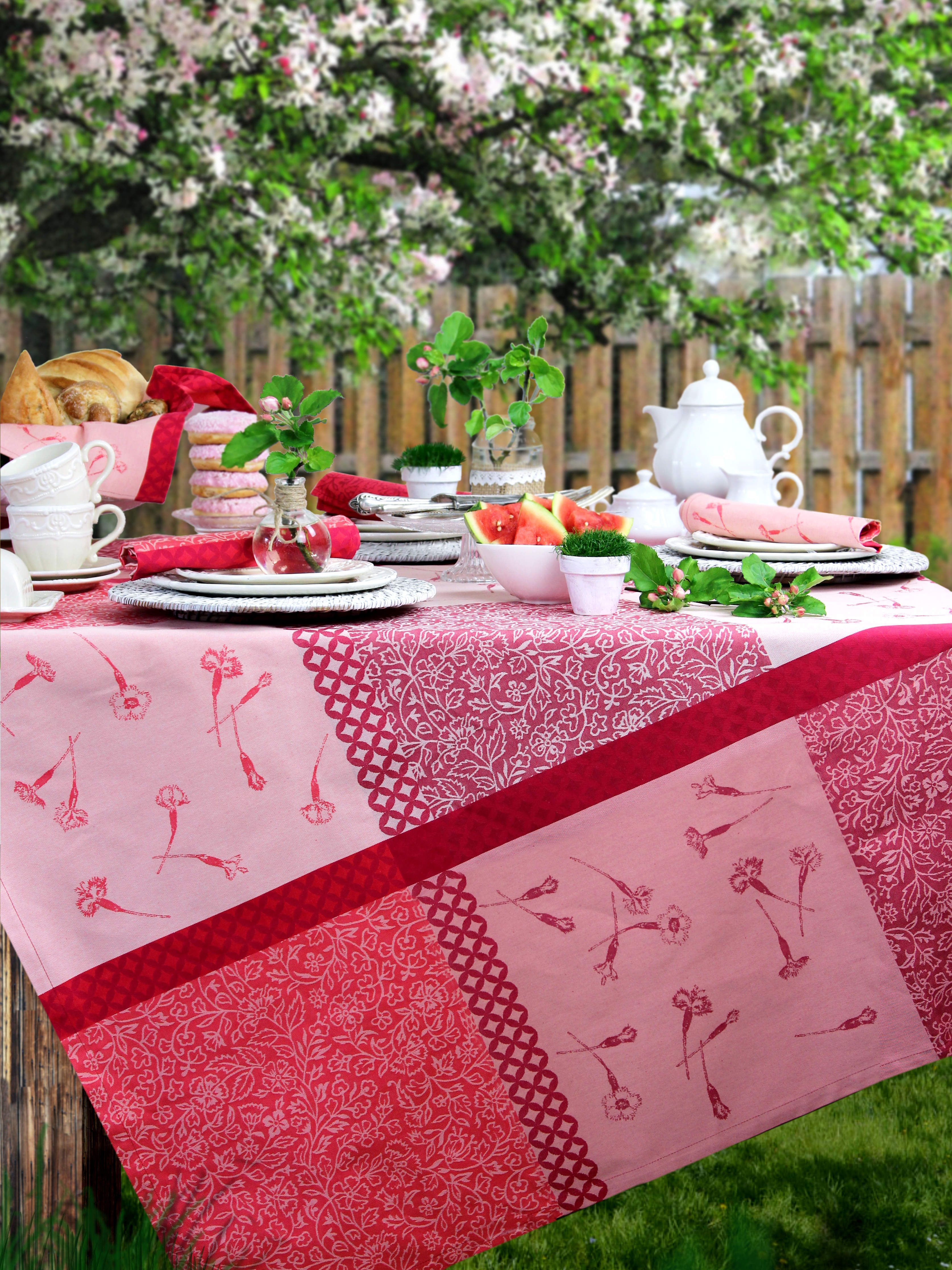 gedeckter gartentisch tischdecke fleur du jardin von sander gedeckter tisch pinterest. Black Bedroom Furniture Sets. Home Design Ideas