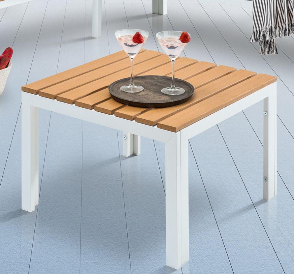 Outdoor Garten Tisch Orlando Lounge 60cm Weiss Stahl Wetterfest