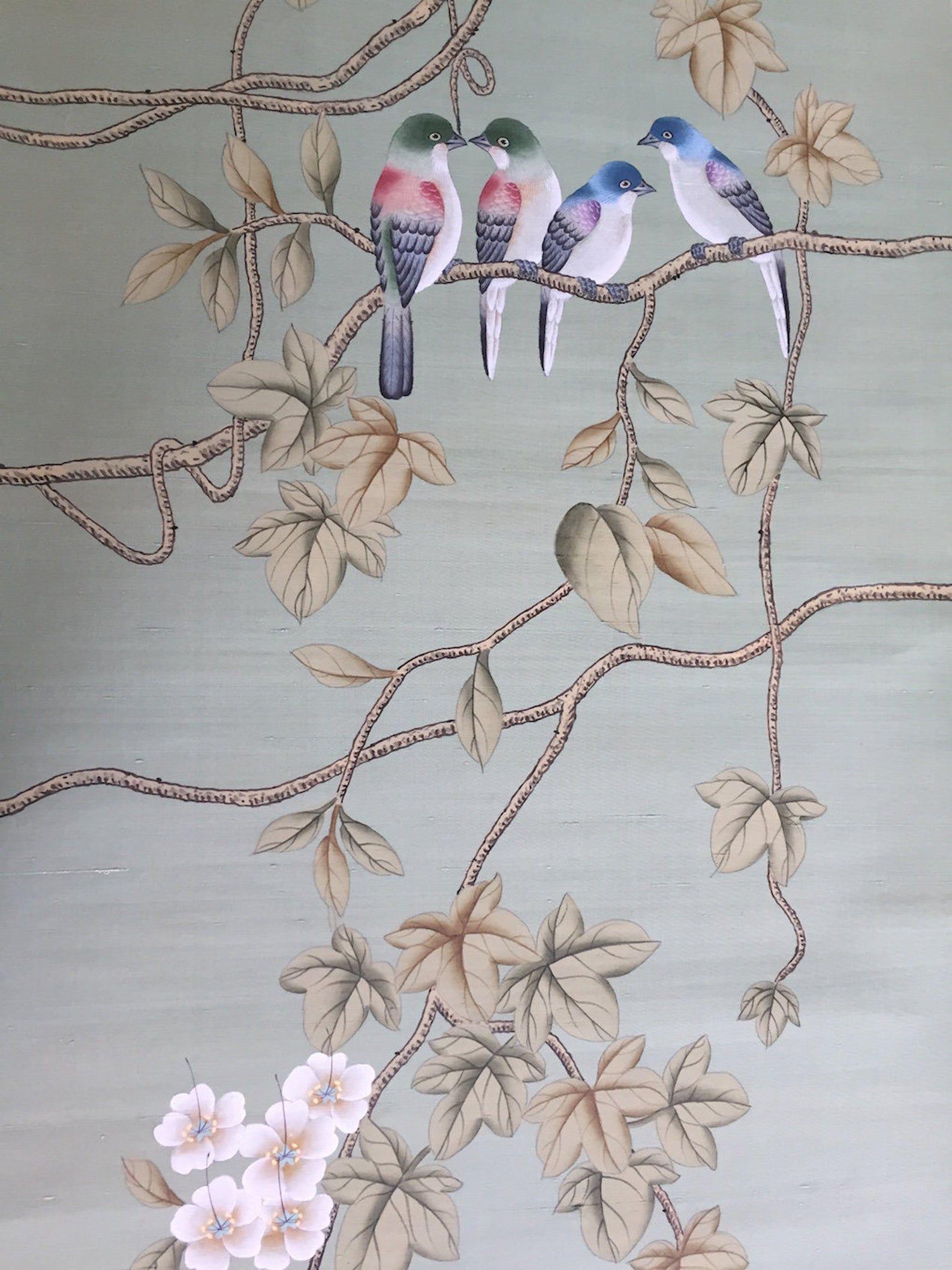 Chinoiserie Handpainted Silk Wallpaper Vines And Birds In Etsy In 2021 Silk Wallpaper Hand Painted Chinoiserie