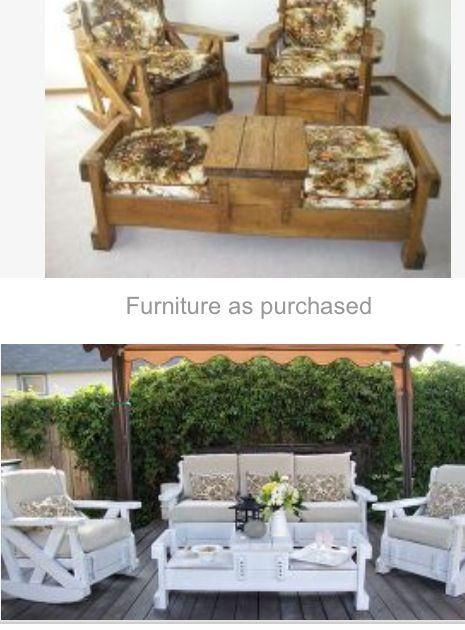Ugly 70s couch chairs transformed into beautiful outdoor for 70s wooden couch