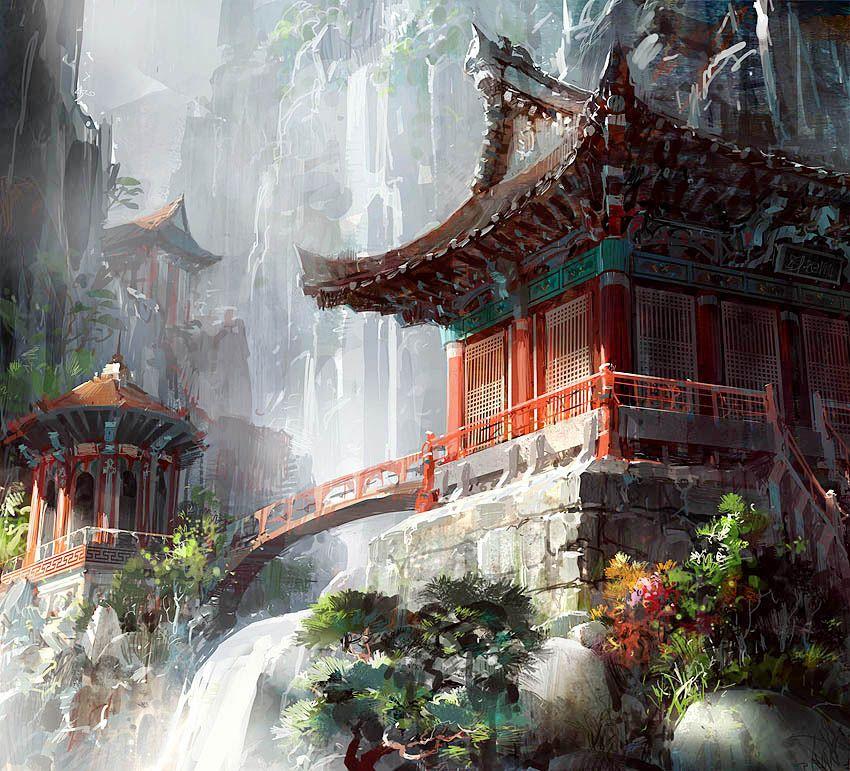 Digital Illustration Of Chinese Architecture Arquitetura Chinesa Arte Da Paisagem Ilustracao De Paisagem