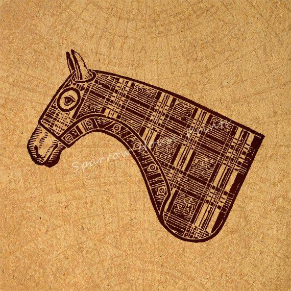 Vintage Horse Head Print Wall Art Animal by SparrowHousePrints