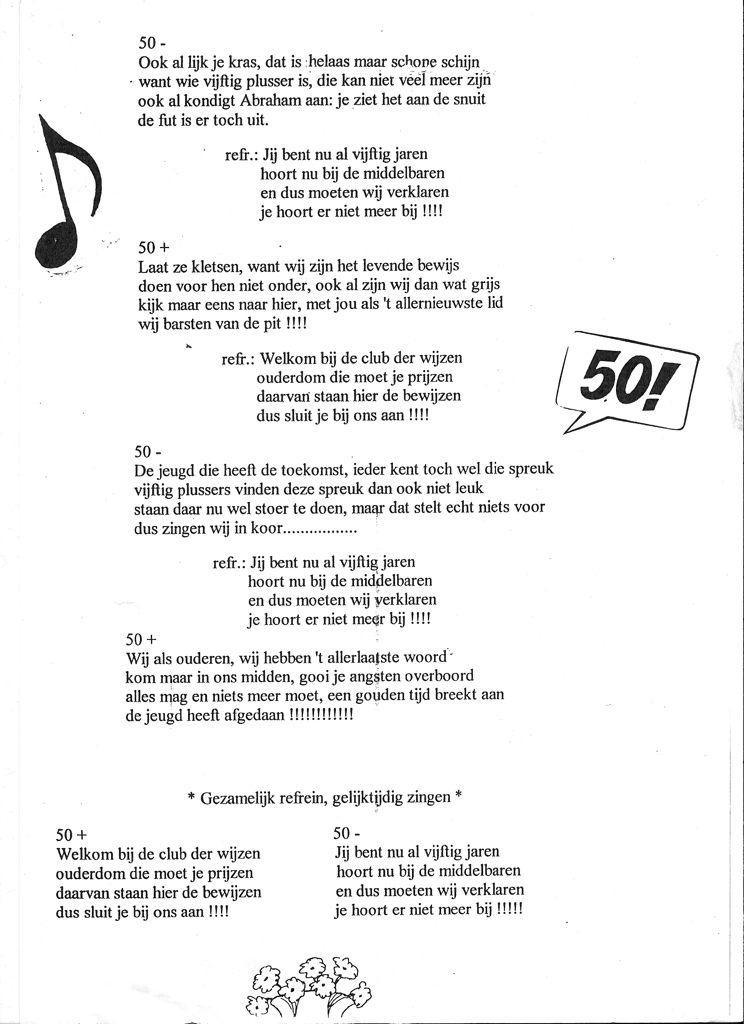 50 jaar huwelijk liedjes Deel 2.   50+ en 50  lied op de melodie van glory glory halleluja  50 jaar huwelijk liedjes