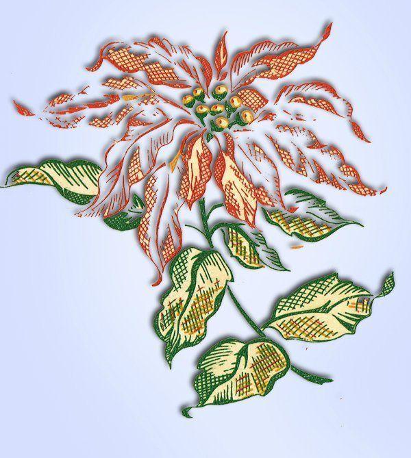 1950s Four Color Vintage Vogart 73 Poinsettias Uncut Hot Iron No Sew Transfer #VogartTextilprints #IronandGoNoSew
