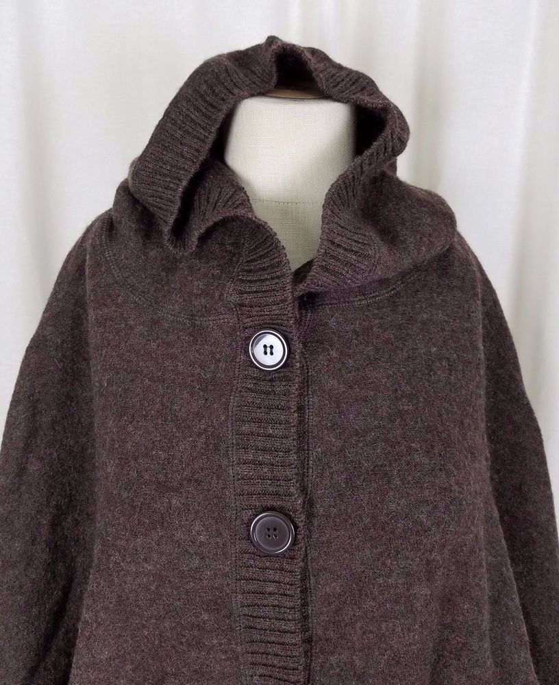 Elena Solano Hooded Wool Knit Sweater Cape Poncho Button Up Shawl ...