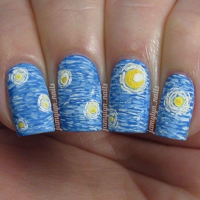 Instagram Media By Jamylyn Nails The Starry Night Vincent Van Gogh Nail Nailart