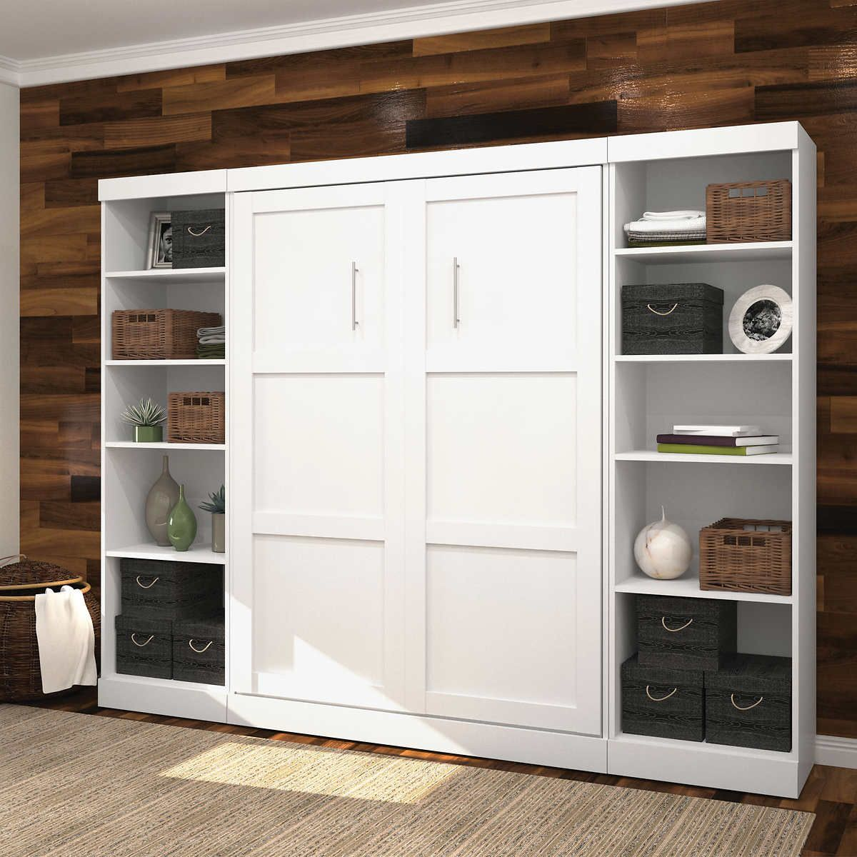 Boutique Full Wall Bed With Two Storage Units In White Murphy