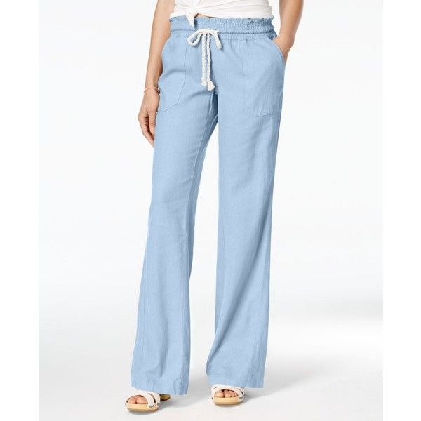 965cf52b45 Roxy Juniors' Oceanside Wide-Leg Drawstring Pants ($40) ❤ liked on Polyvore  featuring pants, morning sky, wide leg trousers, cotton pants, wide-leg  pants, ...