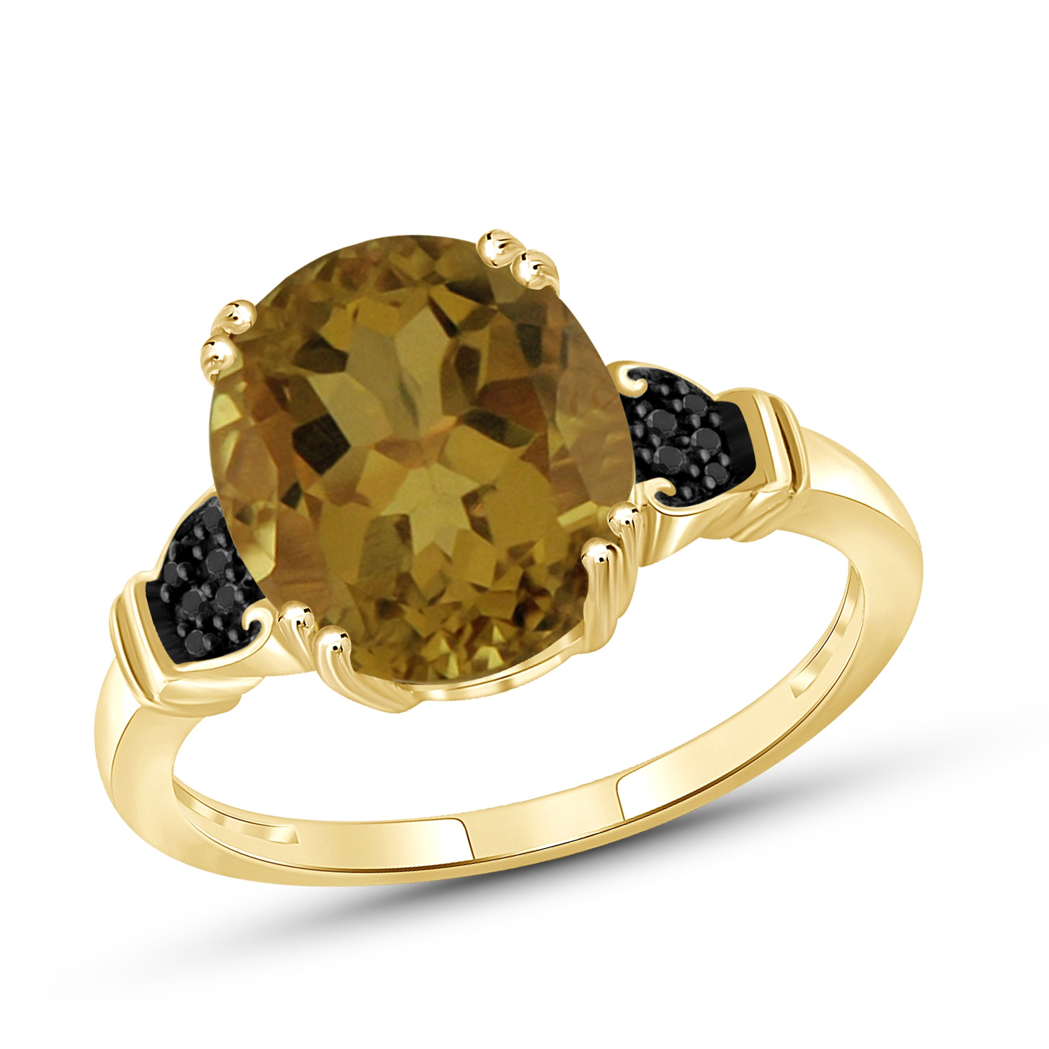 Jewelonfire Gold over Silver 1 1/2ct TW Whiskey and Black Diamond Accent Ring