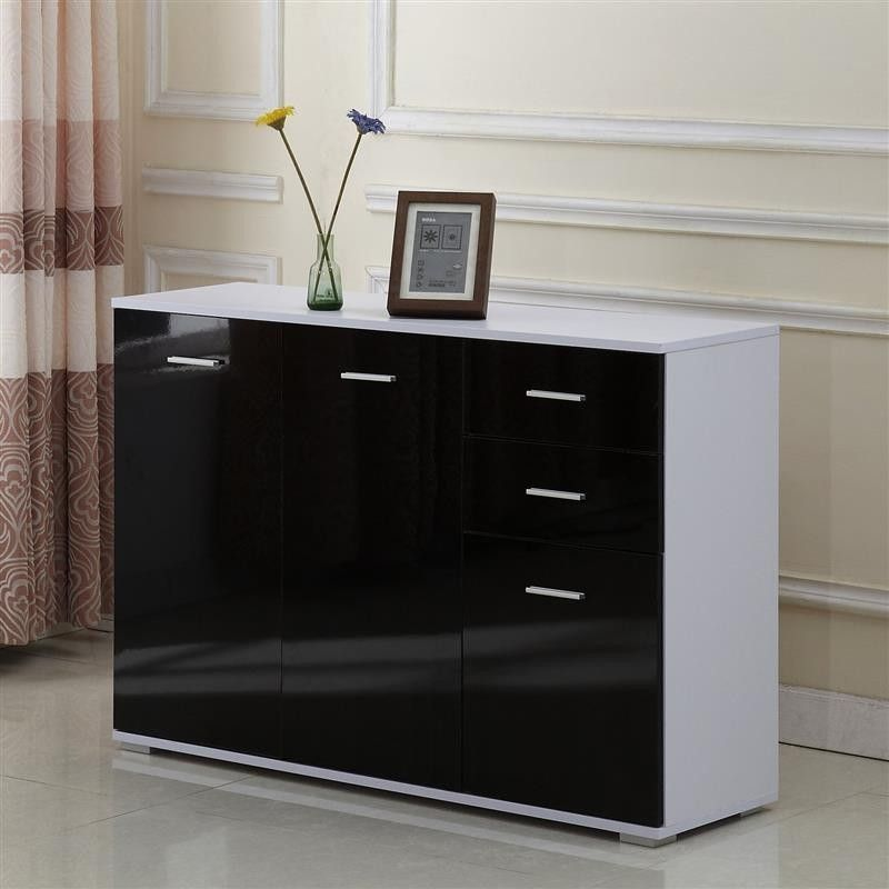 Black White Side Cabinet 3 Doors 2 Drawers Glossy Wooden Living Room ...