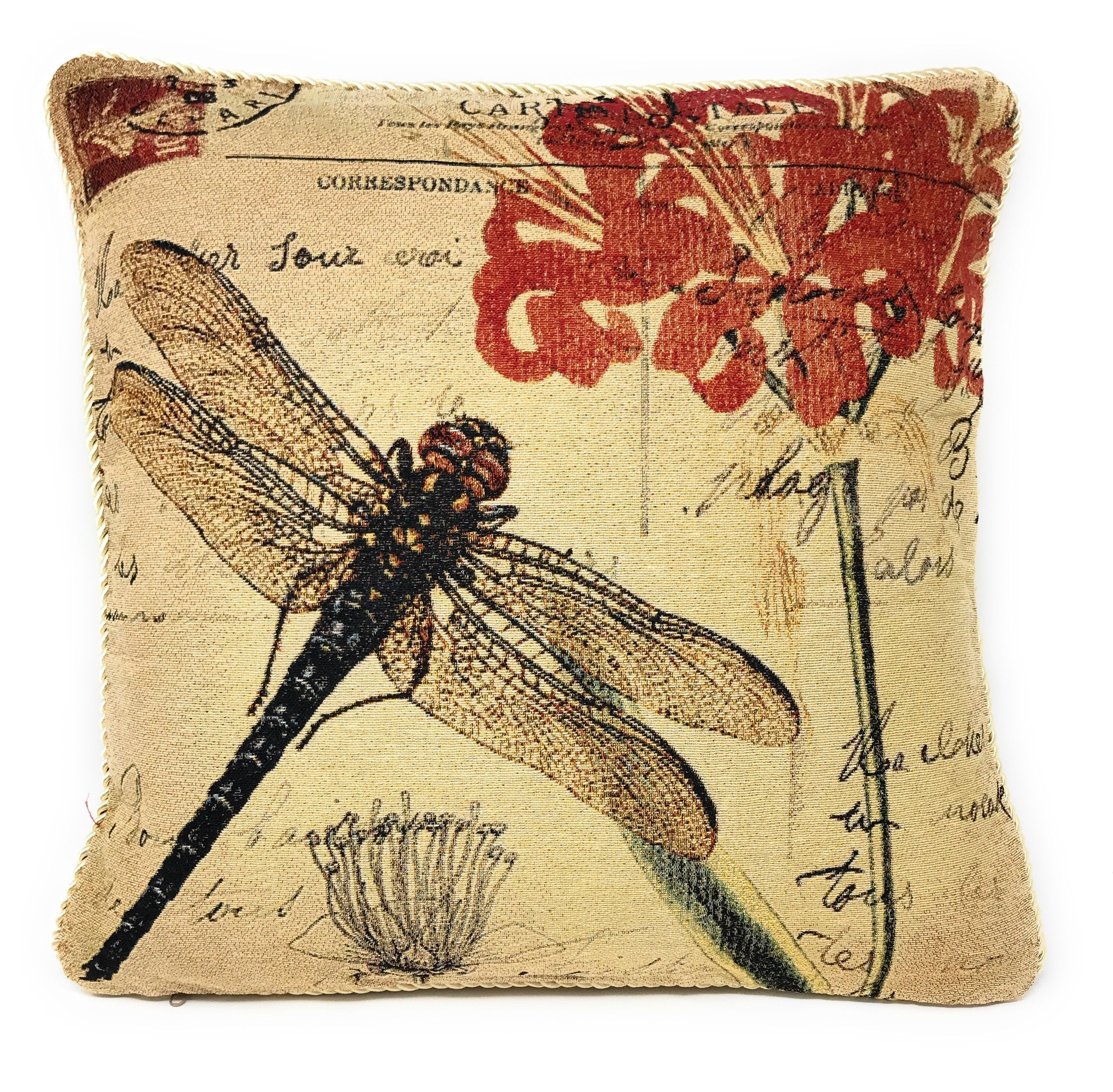 Dragonfly Throw Pillow Cushion Cover